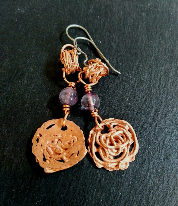 Curly Copper Dangle Earrings