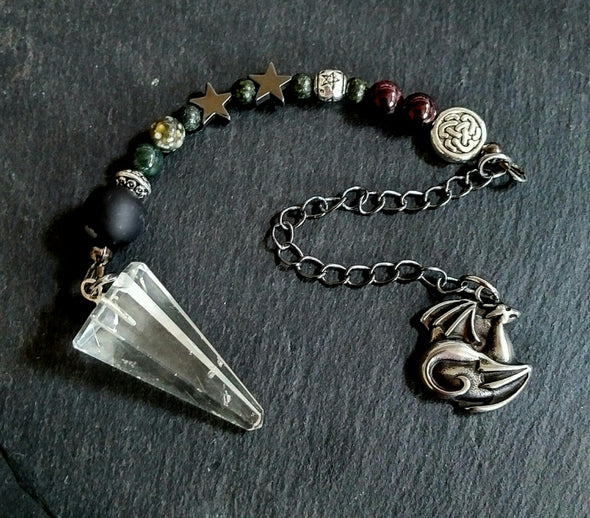 Moonsilver Clear Quartz and Gemstone Pendulum