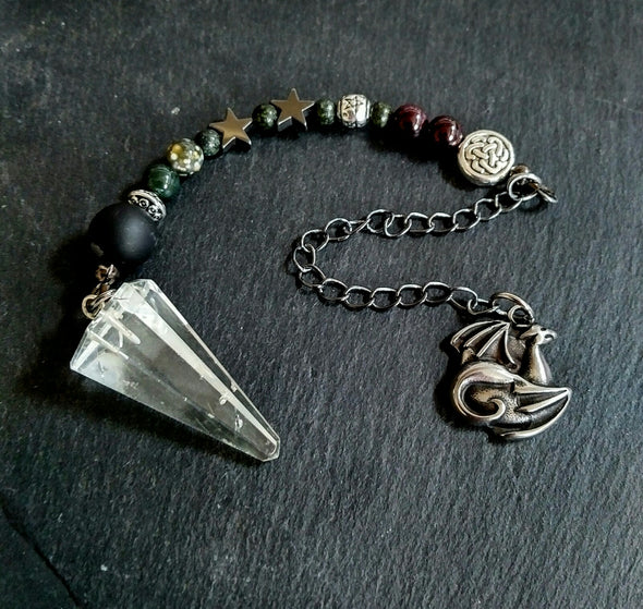 Dark Night Clear Quartz Pendulum with Gemstones