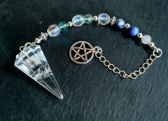 Clear Quartz and Gemstone Pendulum