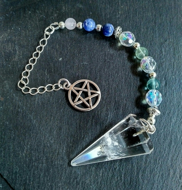 Moonsilver quartz crystal pendulum