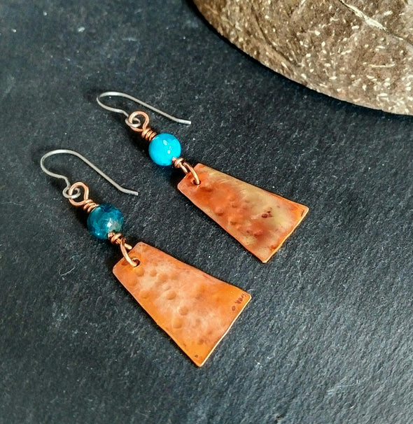 Boho Moonsilver Copper Dangle Earrings