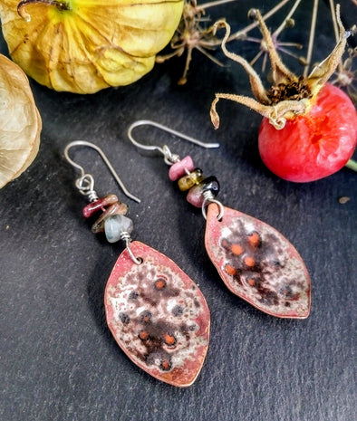 Moonsilver Crystals copper seed pod earrings