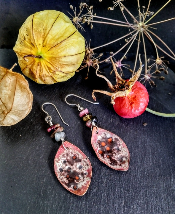 Nature inspired copper earrings