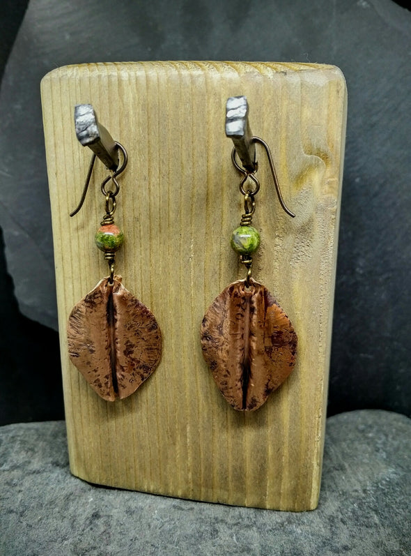 Moonsilver copper leaf and unakite earrings