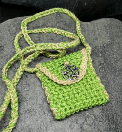 Moss green crochet amulet bag