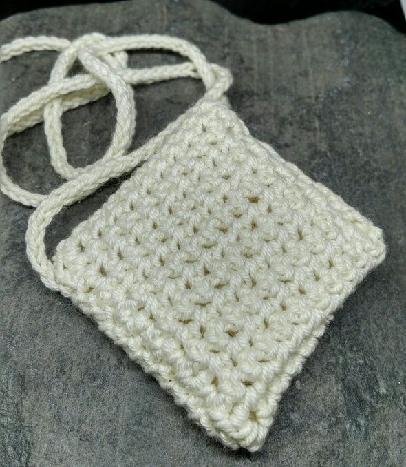 crochet amulet bag rear view