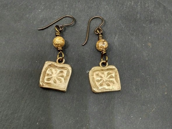Artisan bronze and jasper stone earrings