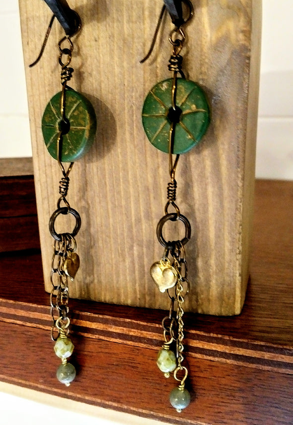 Moonsilver Crystals Green Assemblage Earrings