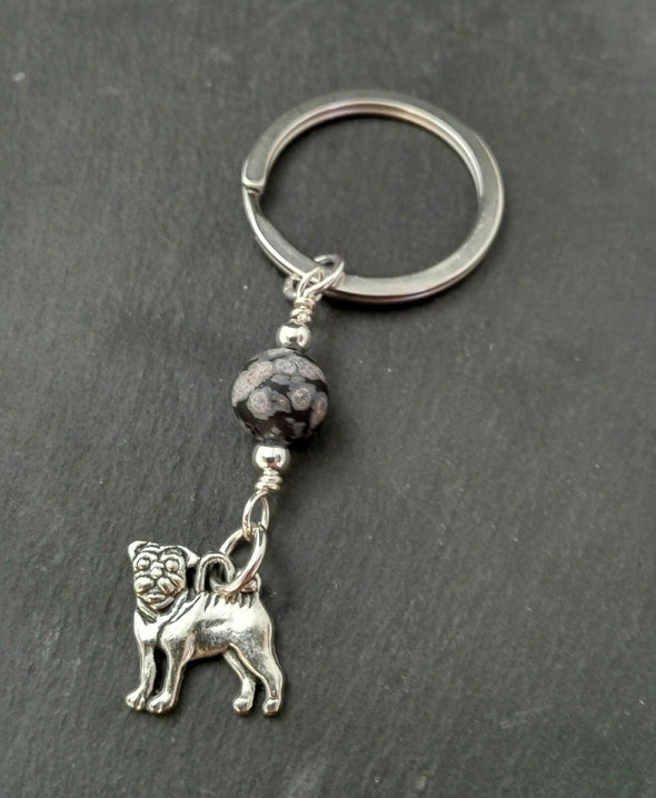 Moonsilver Bulldog and Snowflake Obsidian Keyring