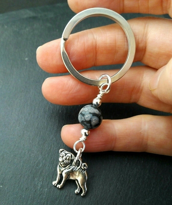 Bulldog and Snowflake Obsidian Keyring