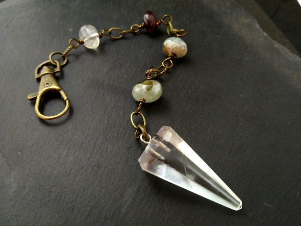 Clear quartz pendulum with gemstone chain