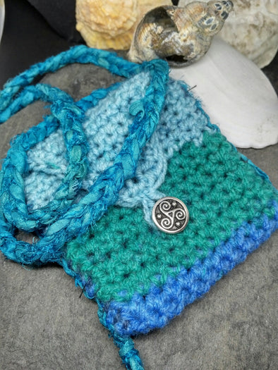 Blue Green Crochet amulet medicine bag