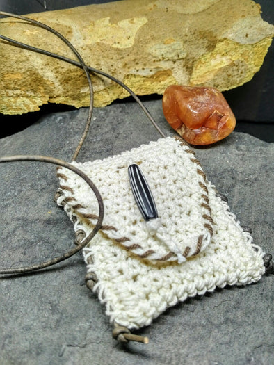 Crochet cotton amulet medicine bag