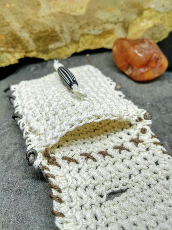Cream crocheted amulet medicine bag