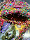 Crochet carnival colours silk amulet bag
