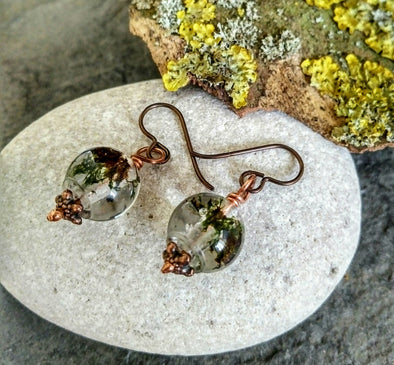 Real moss in resin earrings