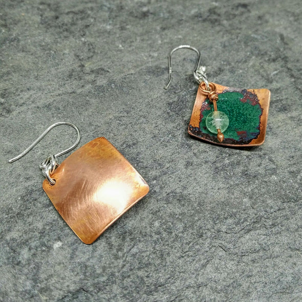 Green enamelled copper gemstone earrings