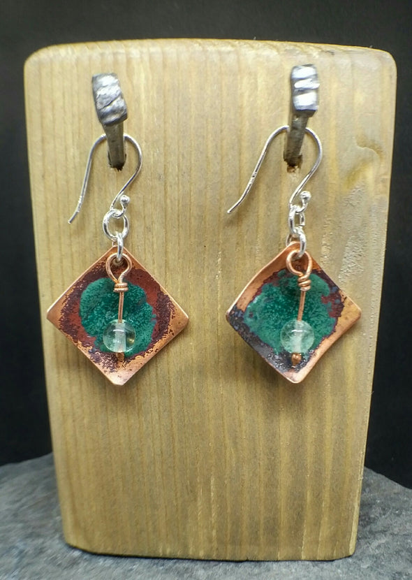 Enamelled copper and fluorite earrings