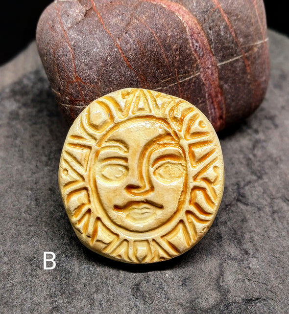 Moonsilver Crystals ceramic sun brooch
