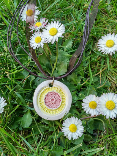 Moonsilver Ceramic Mandala Necklace