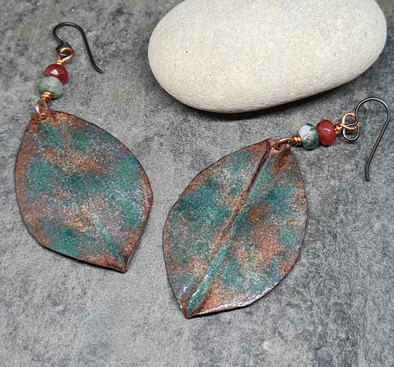 Green enamelled copper leaf earrings
