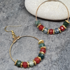 Fire agate and moss agate hoop earrings