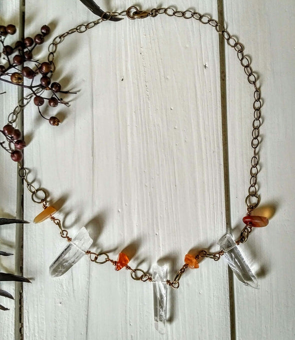 Clear Quartz and Carnelian Chain Necklace