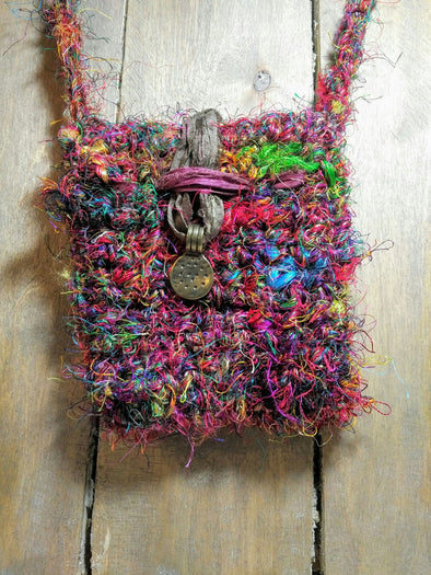 Handmade crocheted recycled silk amulet pixie bag