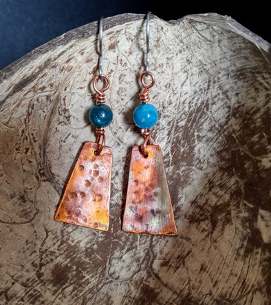 Moonsilver Flamed Copper Gemstone Earrings
