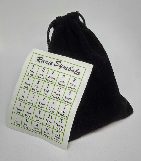 Rune Set in Black Velvet Bag with Rune Symbol Meaning Card