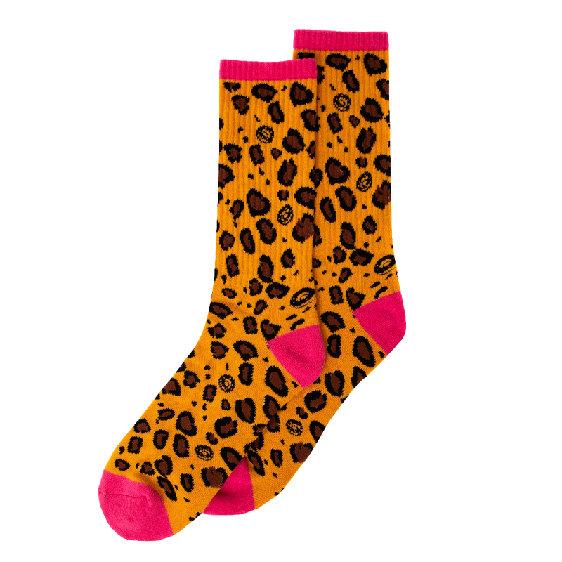 OF Cheetah Print Socks - Pink/Orange