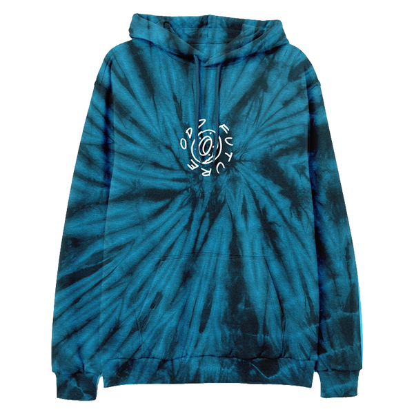 In The Round Pullover Hoodie - Black/Teal Spider Tie Dye