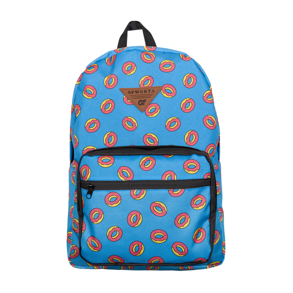 Allover Donut Print Backpack - Blue/Black