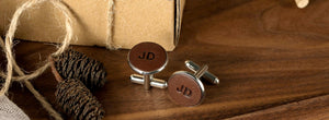 personalise leather cufflinks