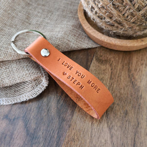 I Love You More Leather Keychain