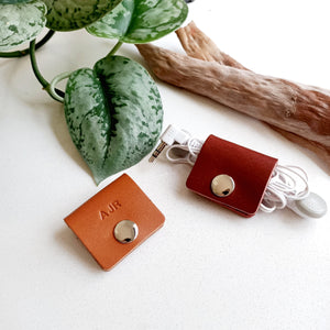Square Leather Cord Organiser - Set of 2