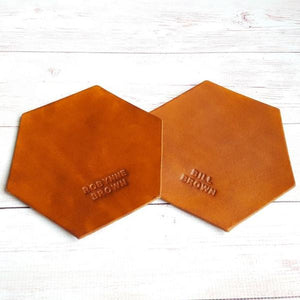 2 x Personalized Hexagon Leather Coasters - Custom Name Coaster - Housewarming Wedding Anniversary Gift - Holiday Gift