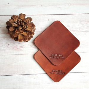 Custom Leather Coasters - Personalized Drink Coasters - Housewarming Gift - Leather Anniversary Gift for Him - Birthday Gift Set of 2