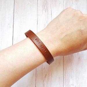 Personalised Leather Bracelet - Custom Mens Bracelet - Third Anniversary Gifts for Men - Gifts for Him Boyfriend Dad - Gifts under 20
