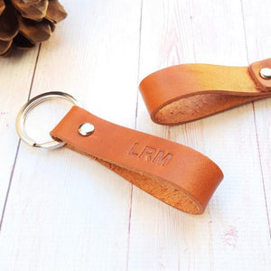 Custom Leather Keychain - Personalized Leather Keyring -  Monogrammed Key Fob - 3rd Anniversary Gift - Gift for Him Men Boyfriend Husband