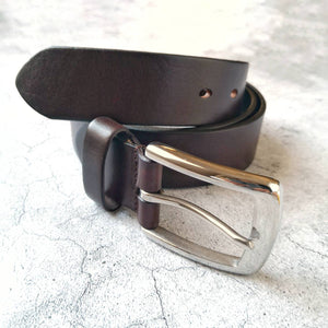 Leather Belt for Men - Personalised Brown Belt - Custom Initials Gift for Him - Anniversary Gifts for Men - Fathers Day Gift