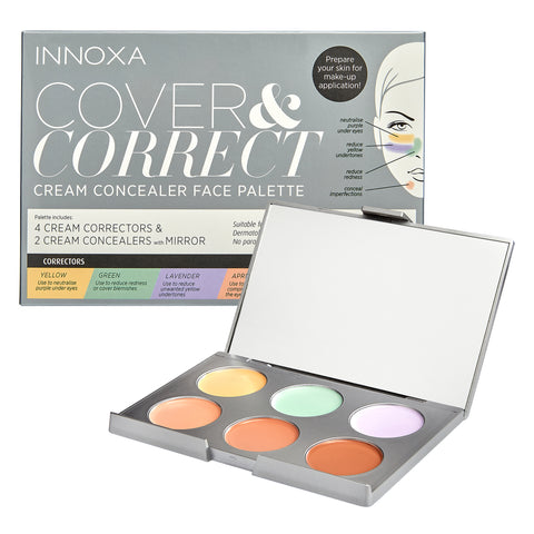 innoxa_cosmetics_cover_&_correct_cream_concealer_face_palette_cruelty_free_vegan_friendly