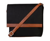 Womens Messenger Bag - Genuine Leather - Black