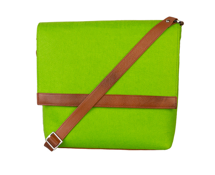 Womens Messenger Bag - Genuine Leather - Green