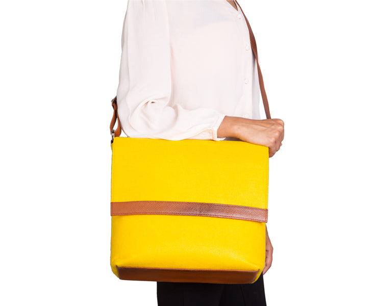 Womens Messenger Bag - Genuine Leather - Yellow