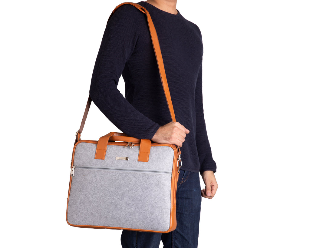 Laptop Bag - SA9026PFBGTR - Polyester felt with Faux Leather Trims