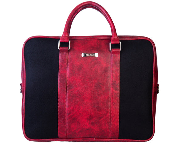 Laptop Bag - Polyester Felt with Faux Leather Trims - Maroon and Black Maroon and Black Laptop Bag Artilea
