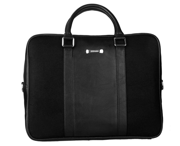 Laptop Bag - Polyester Felt with Faux Leather Trims - Black and Black Black and Black Laptop Bag Artilea