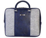 Laptop Bag - Polyester Felt with Faux Leather Trims - Blue and Grey Blue and Grey Laptop Bag Artilea